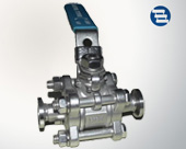Clamp three chip ball valve with lock