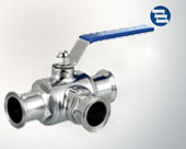 Three way clamp ball valve